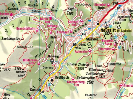Ausschnitt aus Aushangkarte Bezirk InnsbruckLand