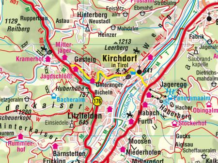 Ausschnitt aus Aushangkarte Bezirk Kitzbühel