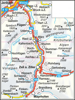 Blattübersicht Wanderkarte Nr.26 Zillertal