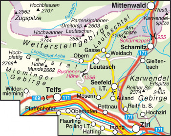 Blattübersicht Wanderkarte Nr.3 Seefeld-Leutasch