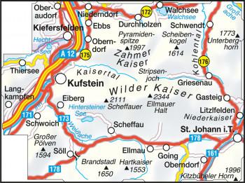 Blattübersicht Wanderkarte Nr.33 Kaisergebirge