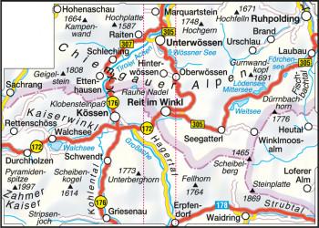 Blattübersicht Wanderkarte Nr.37 ReitimWinkl-Kaiserwinkl